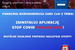 PANDEMIA KORONAWIRUSA SARS CoV-2 TRWA! ZAINSTALUJ APLIKACJĘ STOP COVID ProteGo Safe!