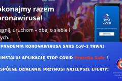 PANDEMIA KORONAWIRUSA SARS CoV-2 TRWA! zAINSTALUJ APLIKACJĘ STOP COVID ProteGo Safe